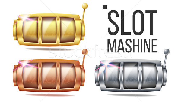 Empty Slot Machine Set Vector. Golden, Silver, Bronze. Spin Machine Template. Fortune Jackpot Casino Stock photo © pikepicture