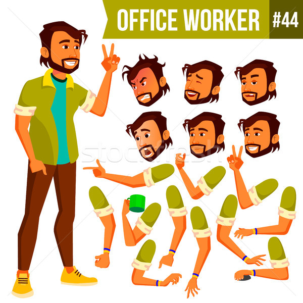 Office Worker Vector. Indian. Face Emotions, Various Gestures. Animation Creation Set. Business Man. Stock photo © pikepicture