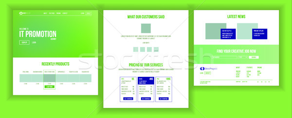 Website Page Vector. Business Website. Web Page. Landing Design Site Scheme Template. Creativity Goa Stock photo © pikepicture