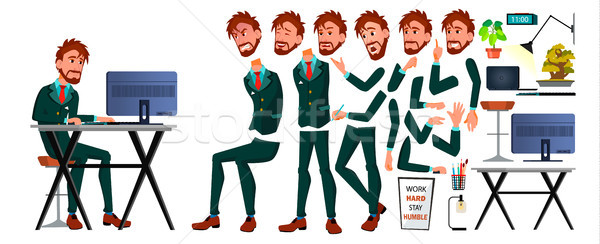 Office European Worker Vector. Face Emotions, Gestures. Animation Set. Business Man. Professional Ca Stock photo © pikepicture