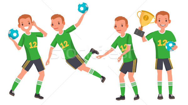 Handball Male Player Vector. Attack Jump. Shooting Player. Playing In Different Poses. Man Athlete.  Stock photo © pikepicture