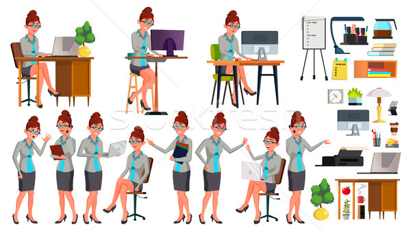 Office Worker Vector. Woman. Successful Officer, Clerk, Servant. Poses. Situations. Secretary. Busin Stock photo © pikepicture
