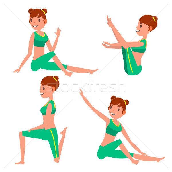 Yoga femenino vector acción meditación posiciones Foto stock © pikepicture