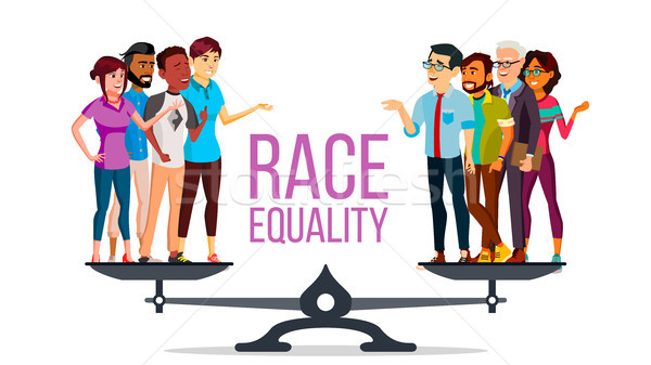 Race Equality Vector. Standing On Scales. Equal Opportunity. No Racism. Different Race Together. Tol Stock photo © pikepicture