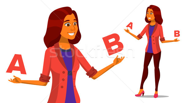 European Woman Comparing A With B Vector. Creative Idea. Balancing. Customer Review. Compare Objects Stock photo © pikepicture