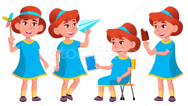 Meisje kleuterschool kid ingesteld vector weinig Stockfoto © pikepicture