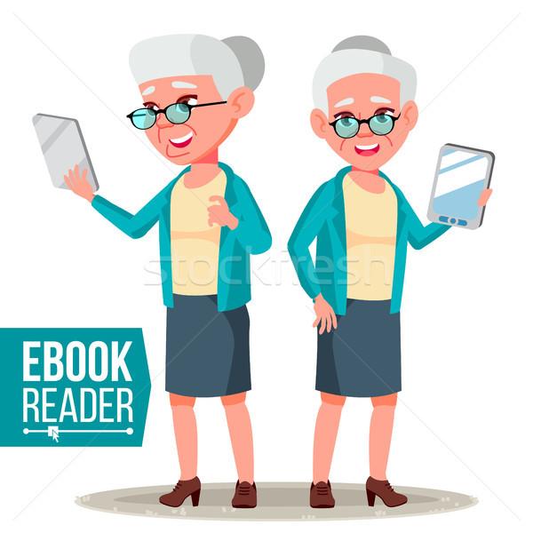 Ebook czytelnik wektora staruszka elektronicznej Zdjęcia stock © pikepicture