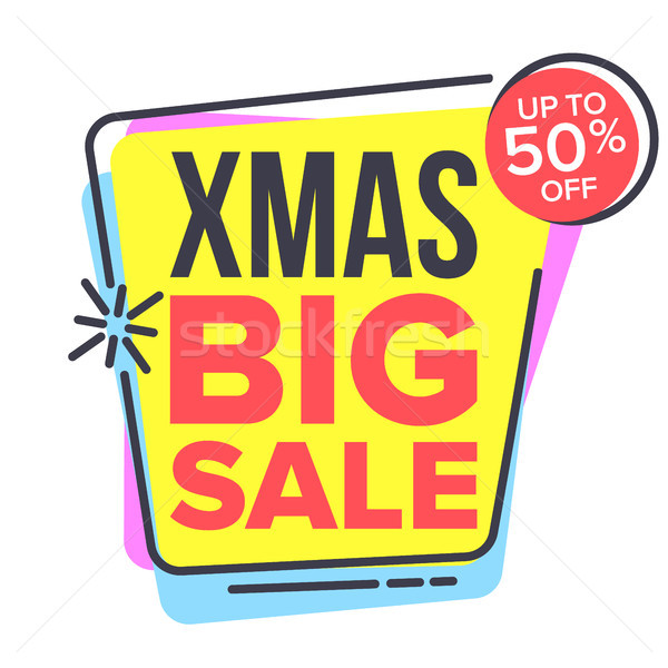 Christmas Big Sale Sticker Vector. Spring Bright Design. Promo Icon. Price Tag Label. Isolated Illus Stock photo © pikepicture