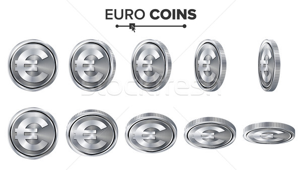 Money. Euro 3D Silver Coins Vector Set. Realistic Illustration. Flip Different Angles. Money Front S Stock photo © pikepicture