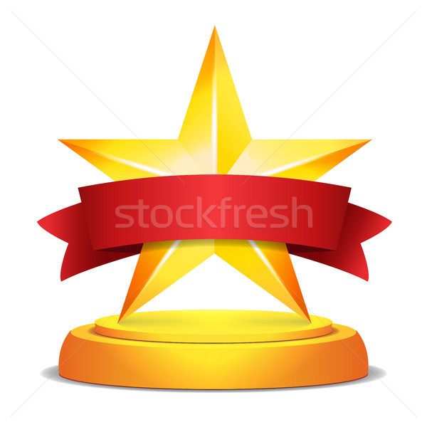 Gold Star Award. Red Ribbon With Place For Text. Vector Illustration. Modern Trophy, Challenge Prize Stock photo © pikepicture