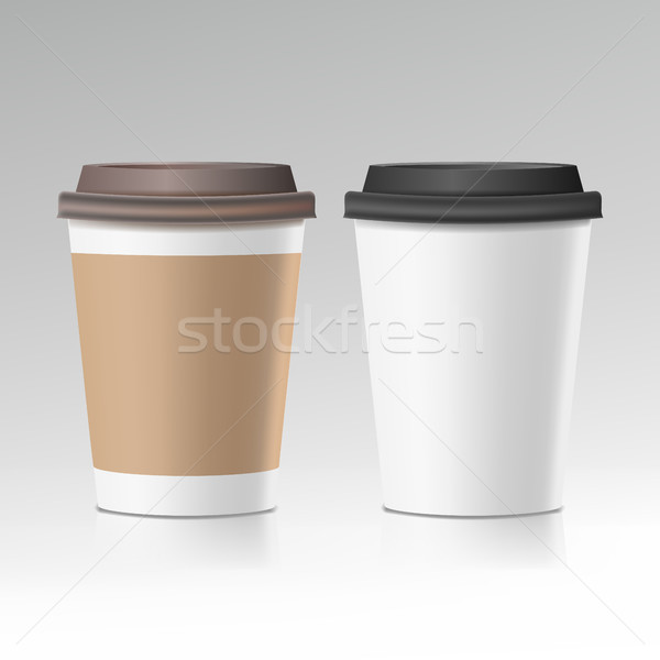 Coffee Cup Vector. Take Away Cafe Coffee Cup Mockup. Isolated Illustration Stock photo © pikepicture