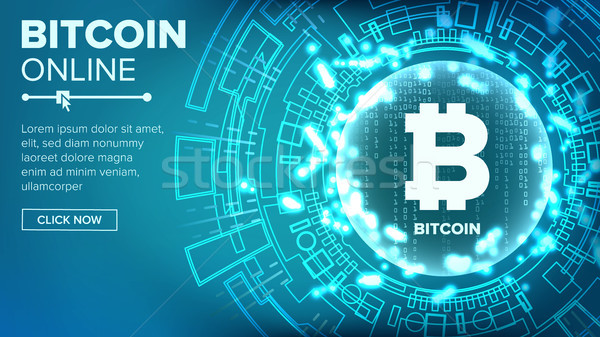 Bitcoin Abstract Technology Background Vector. Binary Code. Fintech Blockchain. Cryptography. Crypto Stock photo © pikepicture