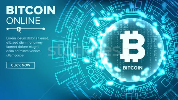 Bitcoin soyut teknoloji vektör ikili kod mavi Stok fotoğraf © pikepicture
