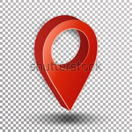 3d Map Pointer Vector. Red Navigator Symbol Isolated On Checkered Background Stock photo © pikepicture