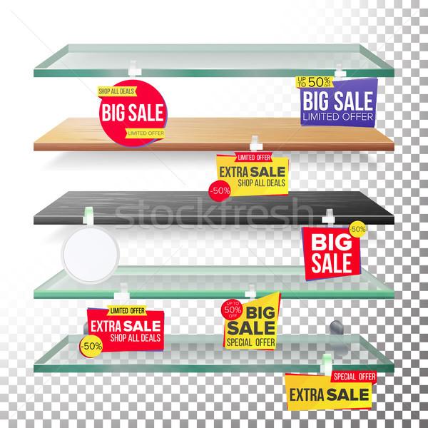 Supermarket Shelves, Advertising Wobblers Vector. Retail Sticker Concept. Best Offer. Discount Stick Stock photo © pikepicture