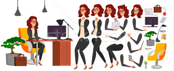 Business Woman Character Vector. Working Female Girl Boss. Office. Girl Developer. Animation Set. At Stock photo © pikepicture