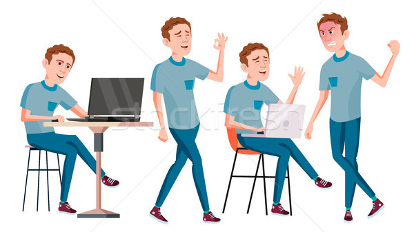 Office Worker Vector. Face Emotions, Various Gestures. Business Human. Smiling Manager, Servant, Wor Stock photo © pikepicture