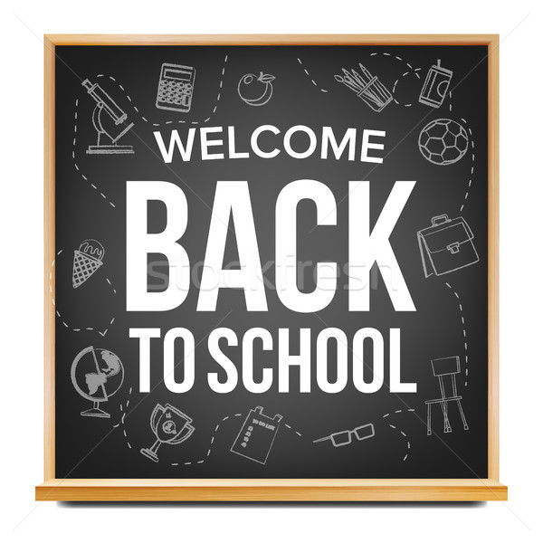 Back To School Banner Design Vector. Classroom Blackboard. Black. Doodle Icons. Sale Flyer. Retail M Stock photo © pikepicture
