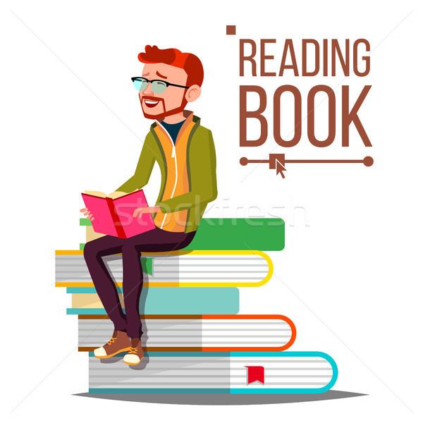 Férfi olvas könyv vektor óriás boglya Stock fotó © pikepicture