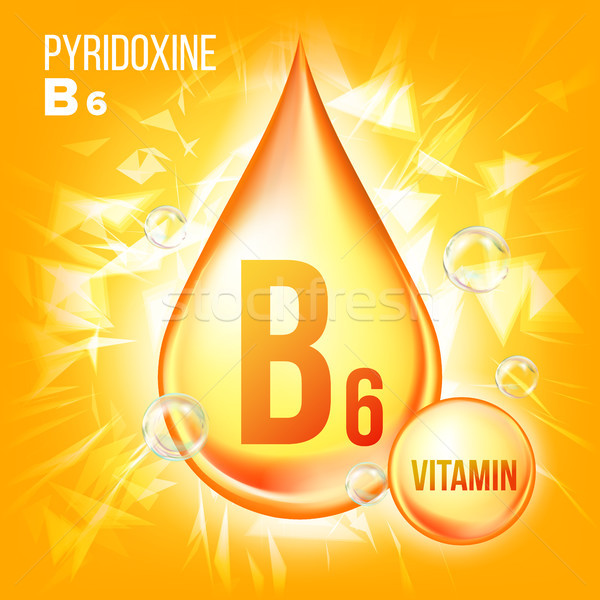 Vitamin B6 Pyridoxine Vector. Vitamin Gold Oil Drop Icon.Organic Gold Droplet Icon. For Beauty, Cosm Stock photo © pikepicture