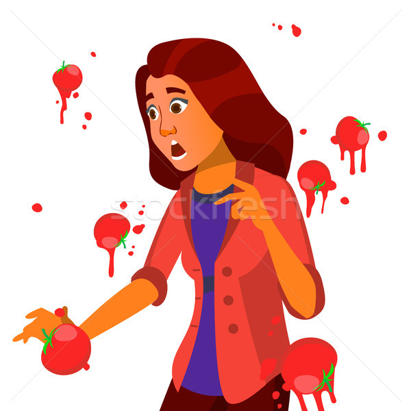 Business Woman Having Tomatoes Fail Speech Vector. Unsuccessful Presentation. Bad Public Speech. Eur Stock photo © pikepicture