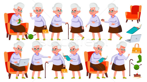 Old Woman Poses Set Vector. Elderly People. Senior Person. Aged. Friendly Grandparent. Banner, Flyer Stock photo © pikepicture