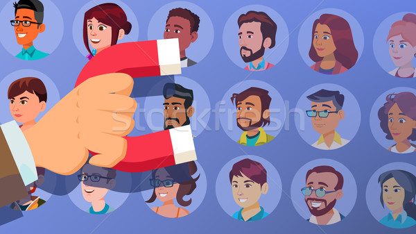 Customer Retention Vector. Businessman Hand With Giant Magnet. Relationship, Marketing Segmentation. Stock photo © pikepicture