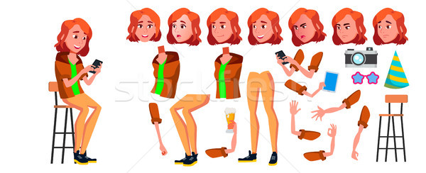Teen Girl Vector. Animation Creation Set. Face Emotions, Gestures. Adult People. Casual. Animated. F Stock photo © pikepicture