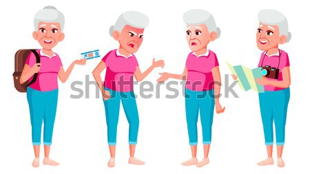 Old Man Poses Set Vector. Elderly People. Senior Person. Aged. Sport, Fitness. Cheerful Grandparent. Stock photo © pikepicture