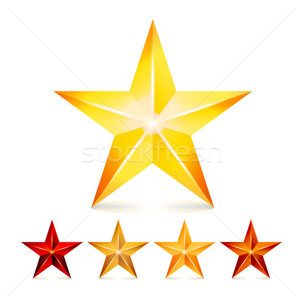 Achievement Vector Star Set. Decoration Realistic Symbols. 3d Shine Icon Isolated On White Backgroun Stock photo © pikepicture