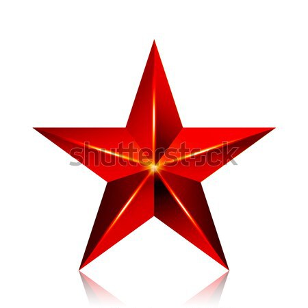 Achievement Vector Star. Red Sign. Decoration Symbol. 3d Shine Icon Isolated On White Background. Stock photo © pikepicture