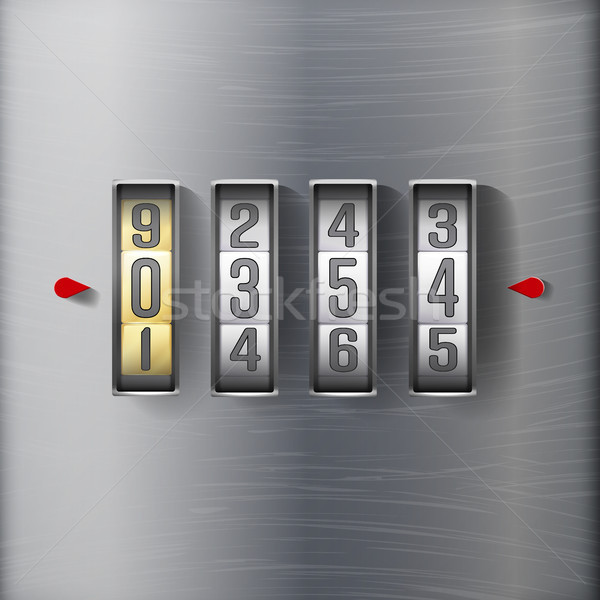 Combination Lock, Realistic Metal Vector Stock photo © pikepicture
