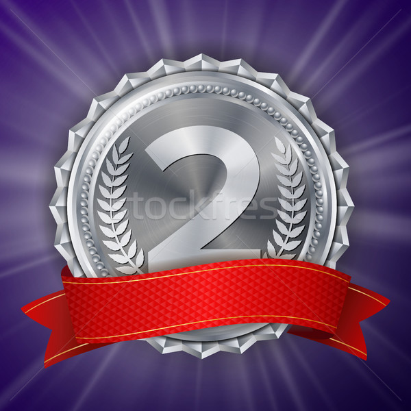 Silver Medal Vector. Round Championship Label. Ceremony Winner Honor Prize. Red Ribbon. Realistic Il Stock photo © pikepicture