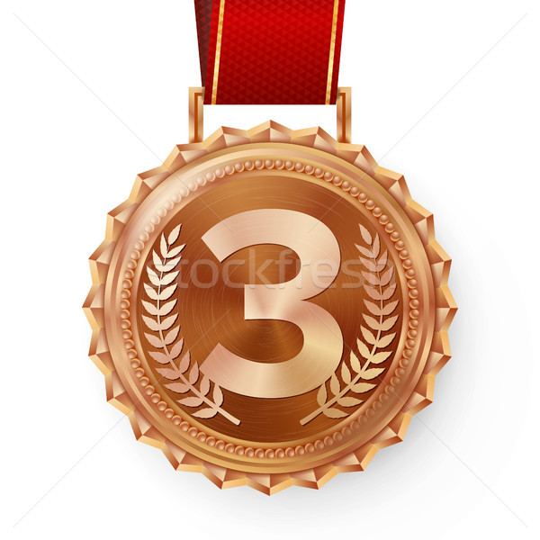 Bronze Medal Vector. Bronze, Copper 3rd Place Badge. Sport Game Bronze Challenge Award. Red Ribbon.  Stock photo © pikepicture