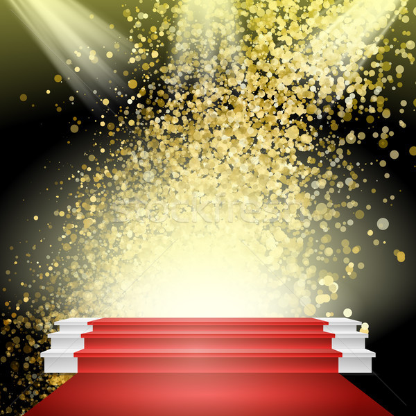 White Winners Podium Vector. Red Carpet. Gold Glitter Cloud Or Shining Particles Explosion. Stage Fo Stock photo © pikepicture