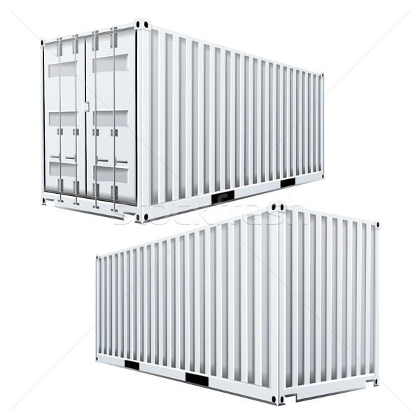 White Cargo Container 3D Vector. Classic Cargo Container. Freight Shipping Concept. Logistics. Isola Stock photo © pikepicture