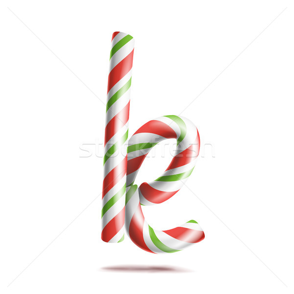 Letter K Vector. 3D Realistic Candy Cane Alphabet Symbol In Christmas Colours. New Year Letter Textu Stock photo © pikepicture