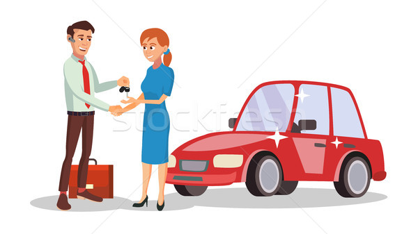 Stock photo: Car Dealer Salesperson Vector. Choosing New Machine Concept. Seller Man. Cartoon Business Character