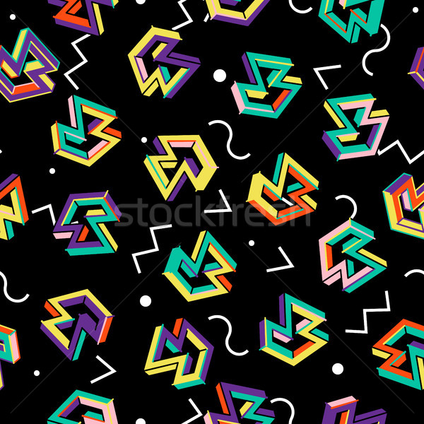 Vector Pattern 80s. Geometric Seamless Abstract Background. Retro Memphis Style 1980s. Stock photo © pikepicture
