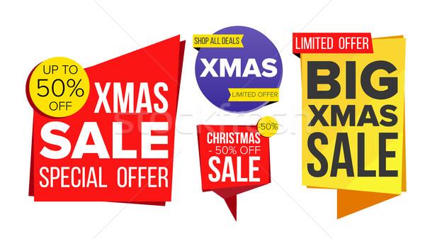 Stock fotó: Karácsony · vásár · szalag · szett · vektor · árengedmény