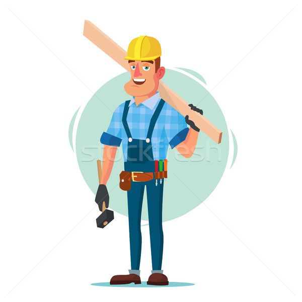 Timber Frame House Construction Worker Vector. Construction Worker On Framing A Building. Isolated F Stock photo © pikepicture