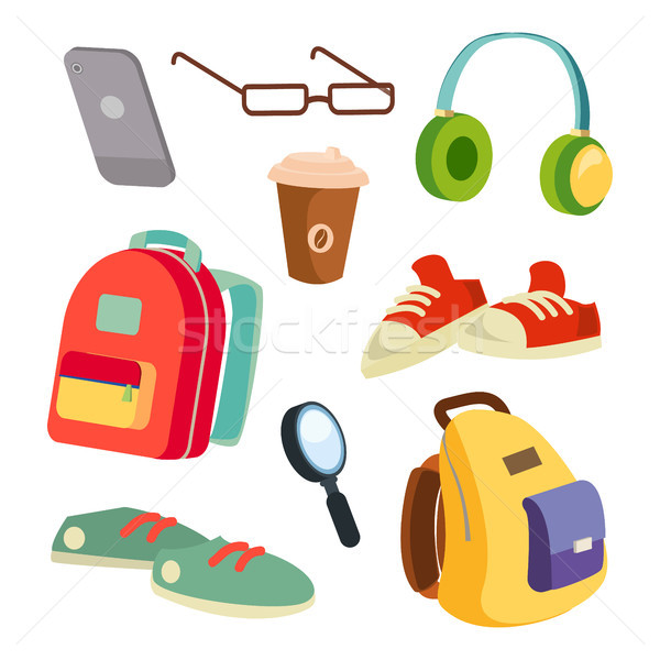 Students Items Accessories Set Vector. Colorful School Backpacks. Glasses, Phone, Coffee Mug, Sneake Stock photo © pikepicture