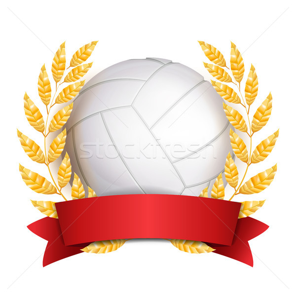 Volleyball Award Vector. Sport Banner Background. White Ball, Red Ribbon, Laurel Wreath. 3D Realisti Stock photo © pikepicture