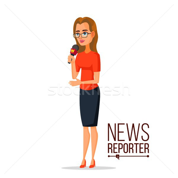 TV Correspondent Vector. Journalist Woman. TV Reporter Presenting News. Outside Broadcasting Cartoon Stock photo © pikepicture