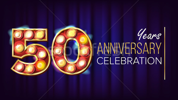 50 Years Anniversary Banner Vector. Fifty, Fiftieth Celebration. Lamp Background Digits. For Happy B Stock photo © pikepicture