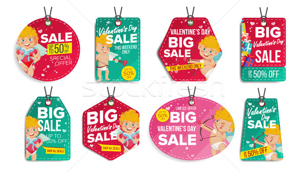 Valentine s Day Sale Tags Vector. Flat February 14 Special Offer Love Stickers. Cupid. 50 Off Text.  Stock photo © pikepicture