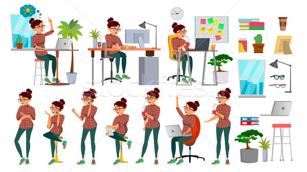 Business Woman Character Set Vector. Working People Set. Office, Creative Studio. Female Business Si Stock photo © pikepicture
