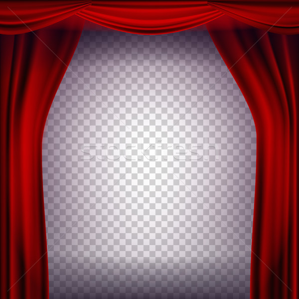 Stockfoto: Rood · theater · gordijn · vector · transparant · poster