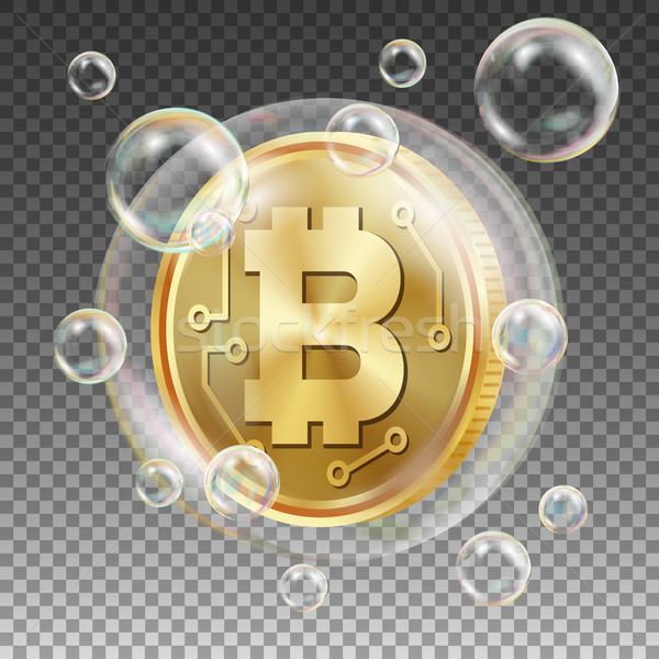 Stock photo: Bitcoin In Soap Bubble Vector. Investment Risk. Price Market Value Going Down. Negative Growth Excha