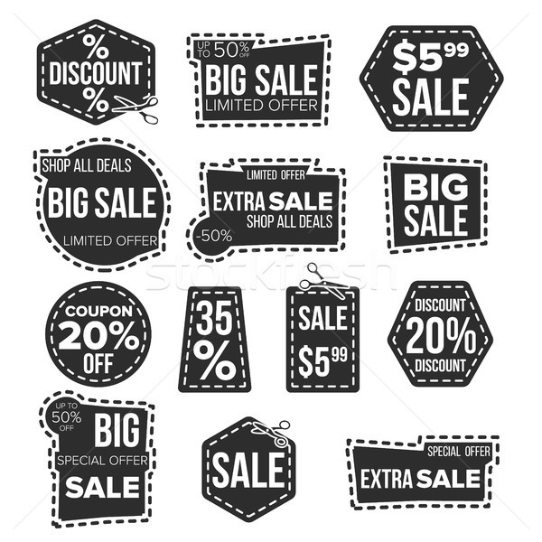 Sale Banners Set Vector. Dotted Cutting Line. Coupon Label. Special Offer Banner. Flat Isolated Illu Stock photo © pikepicture